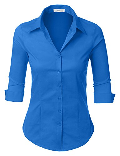 - LE3NO Womens Roll Up 3/4 Sleeve Button Down Shirt with Stretch, L3NWT574A_PERRYBLUE, Medium