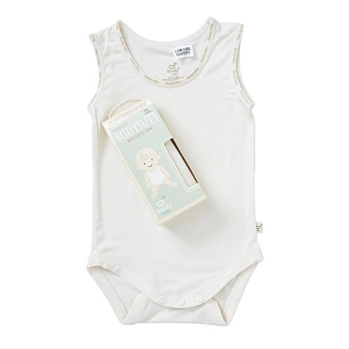 (Boody Body Baby EcoWear Sleeveless Onesie - Soft Cooling Infant Bodysuit made from Natural Organic Bamboo - Soft Breathable Snap Bottom for Sensitive Skin - Chalk White, Newborn)