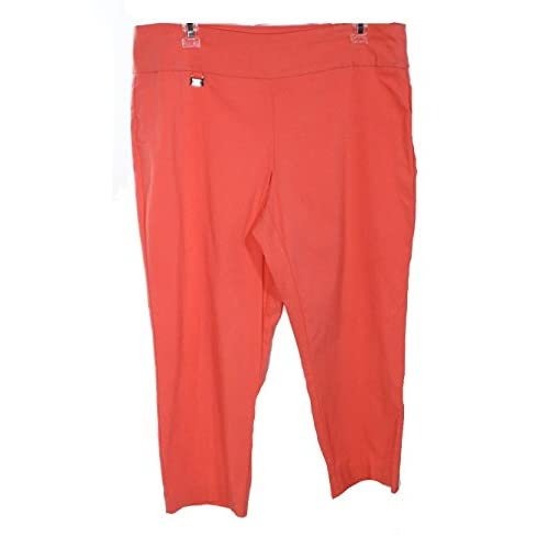 ae3c3e1c00 Alfani Women's Flat Front Capris Cropped Pants Orange 12 high-quality