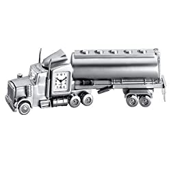 StealStreet SS-KD-675, 5 3/4 Inch Accurate Quartz Die Cast Metal Big Rig Design Clock, Silver, 5 3/4