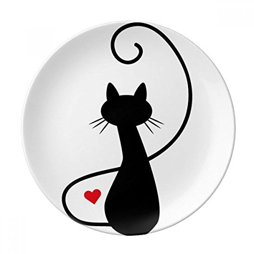 Meow Heart Cat Sihouette Animal Dessert Plate Decorative Porcelain 8 inch Dinner Home by DIYthinker