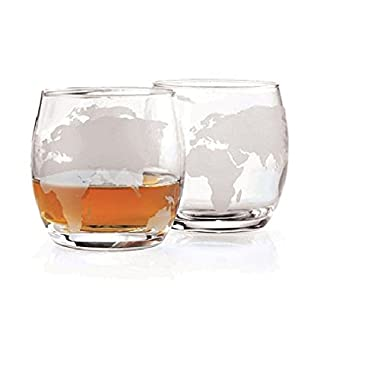 Etched Globe Whiskey Glasses 12 oz -Set of 2