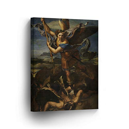 St. Michael Slaying The Devil by Raphael Art Canvas Print Famous Fine Art Oil Painting Reproduction Canvas Wall Art Renaissance Art Home Decor -%100 Made in The USA- 40x30
