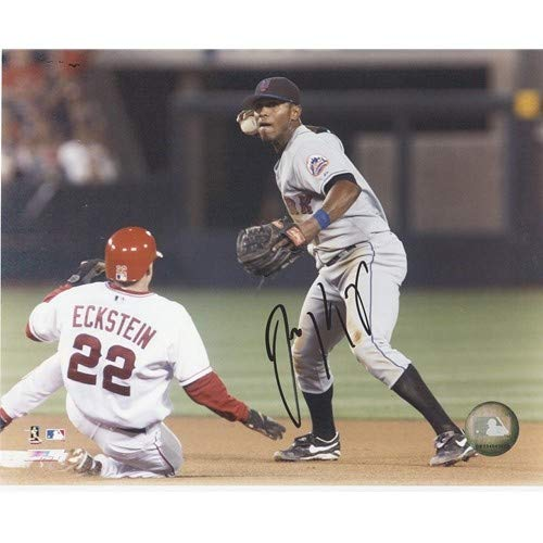 (Jose Reyes Autographed Signed Auto New York Mets Grey Jersey Fielding Horiz 8x10 Photograph - Certified Authentic)