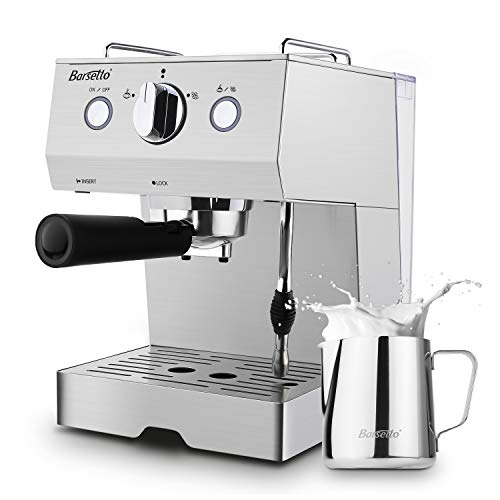 setto Coffee Machine 15 Bar Stainless Steel Coffee Brewer with Milk Frother Wand, Package w/Free Milk Frothing Pitcher, for Cappuccino, Latte and Mocha (Stainless Steel) ()