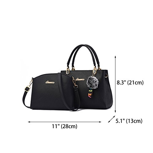 Cross Black Faux Bags Women's Shoulder Leather Bags Handbags Bags Handle Top Body UBqw7