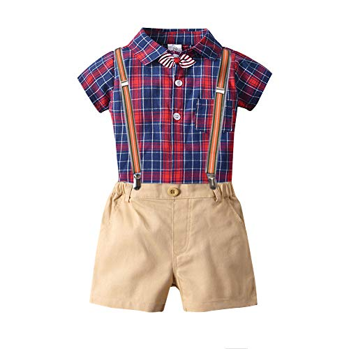 Toddler Boys Clothing Set Gentleman Outfit Bowtie Polo Shirt Bid Pants Overalls(9-12Month) Red