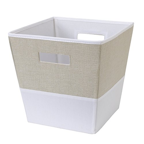NoJo Two-Tone Fabric Storage Bin, Oatmeal, Ivory - Ivory Bins