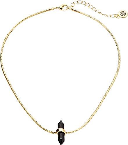 House of Harlow 1960 Women's Dainty Single Crystal Choker Gold/Black Tourmaline One Size (Tourmaline Black Gold And Jewelry)