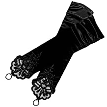 Women Bridal Luxurious Fingerless Dress Gloves Satin Style with Lace Beading for Wedding Party Prom Performance Black