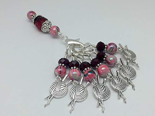 Knitting Yarn Charm Stitch Marker Jewelry Set with Beaded Holder