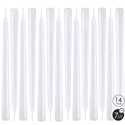 YIHANG White Taper Candles - Set of 14 Dripless Ca