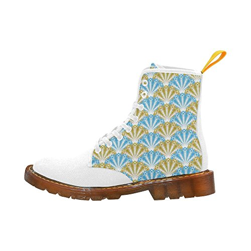 LEINTEREST feather pattern,aqua golden Martin Boots Fashion Shoes For Women
