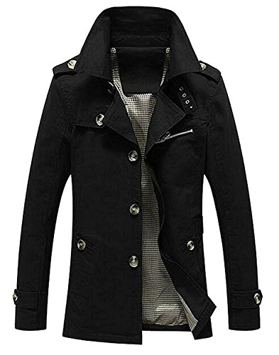 KEBINAI Men's Fashion Cotton Windbreaker Single Breasted Trench Coat (Repeller Single)