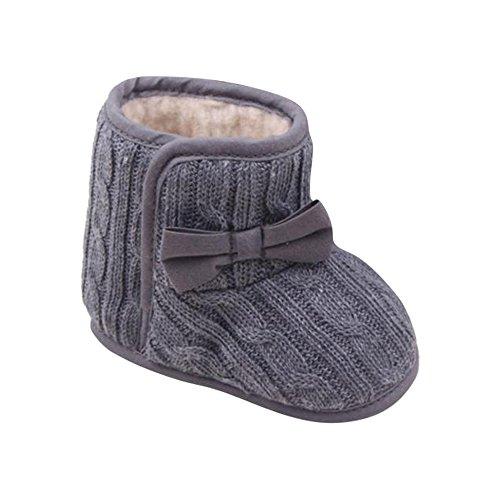 Longra Baby Mädchen Krippe Bowknotschuhe Kleinkind beiläufige Schuh PU Leder (11CM, Grau)