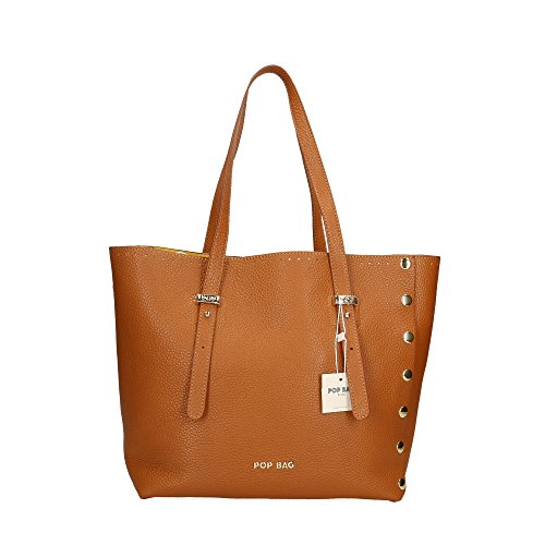 Sac Bags in Cm Made en Italy femme 28x27x13 POP Dollar Marron véritable main Impression à cuir A5wqF