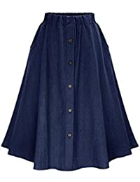Women's A-Line High Waisted Button Front Drawstring Pleated Midi Skirt with Elastic Waist Knee Length