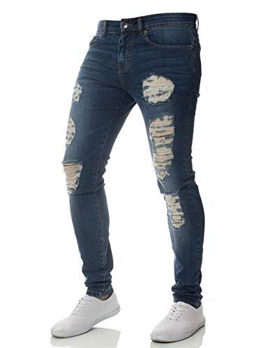Motociclista Jeans Pantaloni Especial Strappati Uomo Dunkelblau Elasticizzati Da Estilo Denim Slim Casual Fit Fori Leggeri a4qBUwq