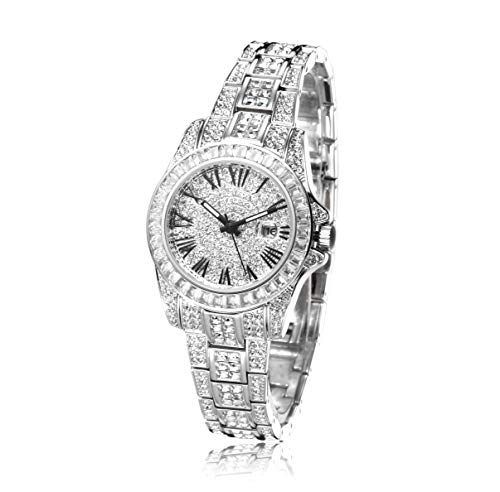 - ❤Gift for Her❤ Crystal Watches for Women, Womens Watches Diamonds, Crystal Accented Silver-Tone Crystal Dial Dress Watch with Date Silver Bracelet Watch - Japanese Quarts Movement