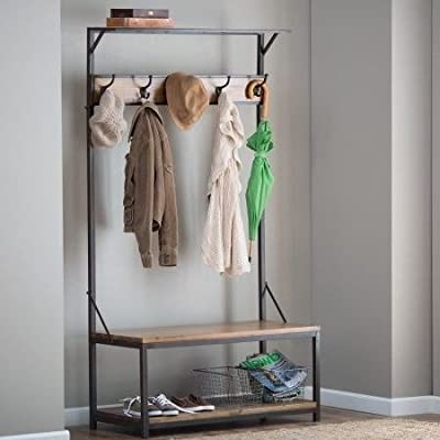 By Home Design Entryway Bench Coat Rack-Natural Grain Finish Wood Metal Frame Hall Trees Bench Coat Racks - STORAGE BENCHES FOR ENTRYWAY - The Hall Tree Adds Style And Functionality To Your Home Decor. COAT HANGER STAND - This Beautiful Rack Is Made With A Metal Frame, Quality Wood, And A Natural Finish. SHOE BENCH ENTRYWAY - It Features Four Handy Hooks For Hats, Coats, Umbrellas, And More. - hall-trees, entryway-furniture-decor, entryway-laundry-room - 41HfBJ61pFL. SS400  -