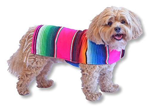 Dog Clothes - Handmade Dog Poncho from Authentic Mexican Blanket by Baja Ponchos (Pink Fringed Edge, (Cute Betty Boop Halloween Costumes)
