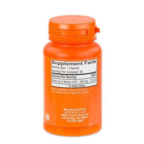 High Potency Biotin USP (D-Biotin) 100mg (100,000mcg) by ACE SP&C (Image #1)