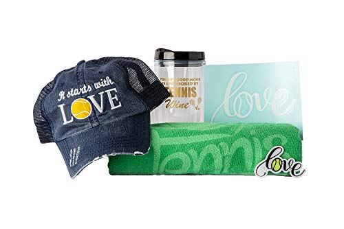 (Tennis Addiction Gift Set Embroidered Distressed Hat Sports Towel Acrylic Tumbler Love Magnet and Car)