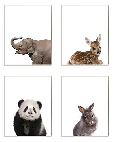 Stupell Home Décor Baby Animal Studio Portrait Elephant Deer Panda Bunny 4pc Wall Plaque Art Set, 10 x 0.5 x 15, Proudly Made in USA -