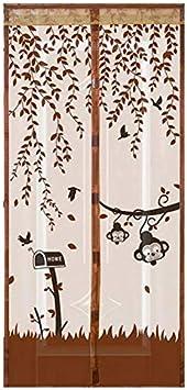 Las cortinas de ducha de tul magnético antimosquitos enrollables cierran automáticamente la pantalla de la puerta cortinas de puerta antimosquitos de malla estilo verano A2 W110xH210