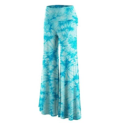Made By Johnny Women's Solid/Tie-Dye Casual Comfy Wide Leg Palazzo Lounge Pants Gaucho (S~3XL) at Women's Clothing store