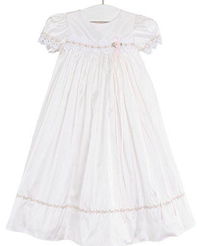 Tess 18 Month Silk Christening Baptism Blessing Gown for Girls, Made in USA by One Small Child (Image #2)