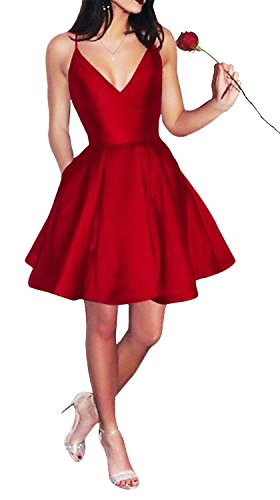 Yangprom Short Spaghetti Straps V-neck A-line Homecoming Dress with Pockets Red ()