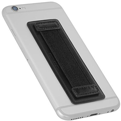 StilGut Universal Anti-Slip Handheld Finger Strap Holder, Genuine Leather Grip for Smartphones and Tablets, Black Nappa by StilGut