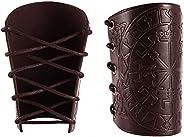2 Pieces Gauntlet Wristband - Vegvisir Viking Leather Armor Bracers