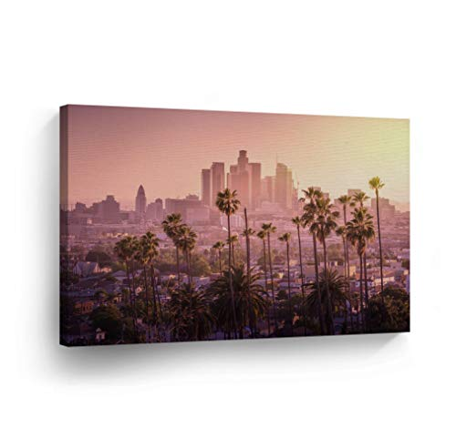 Los Angeles Framed Picture - Los Angeles Wall Art Purple Sky with Palm Trees and LA Skyline Canvas Print California Home Decor Artwork Gallery Wrapped Wood Stretched and Ready to Hang - %100 Handmade in the USA - 8x12