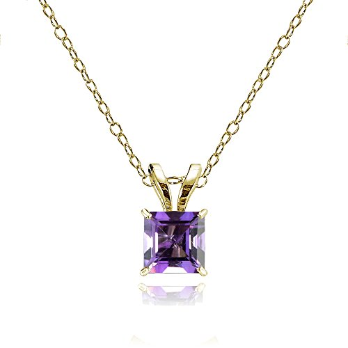 - Bria Lou 14k Yellow Gold African Amethyst Gemstone 5mm Square-Cut Solitaire Pendant Necklace, 18