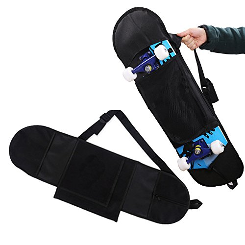Auntwhale Longboard Carrying Backpack Skateboard Backpack Practical Black Non Woven Fabric Skate Bag Sports Backpack (Aw Black Backpack)