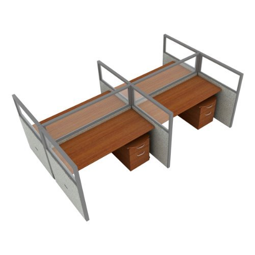 - 2x2 Configuration w/ Transparent 3' 11'' Height Panel and Pedestal (5' W Desk) by OFM