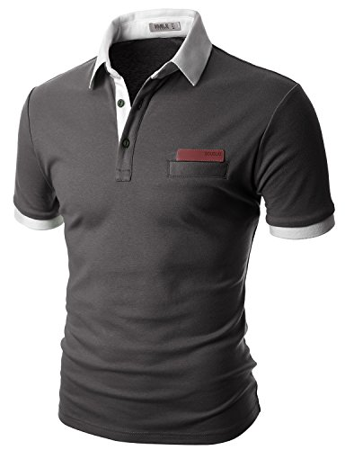 Doublju Mens Lightweight Coming plus size CHARCOALWHITE Short shirt,S