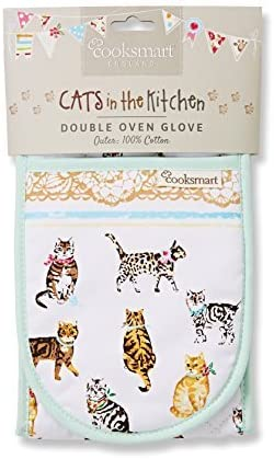 Cooksmart Cats on Parade Double Oven Glove Multi-Colour by Cooksmart