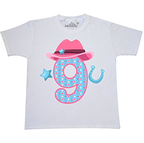 inktastic Nine With Cowgirl Hat Star Youth T-Shirt Youth Medium (10-12) White