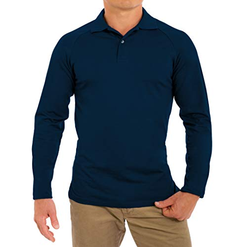 CC Perfect Slim Fit Long Sleeve Polo Shirts for Men | Soft Fitted Breathable Mens Long Sleeve Polo Shirts, Large, Navy Blue