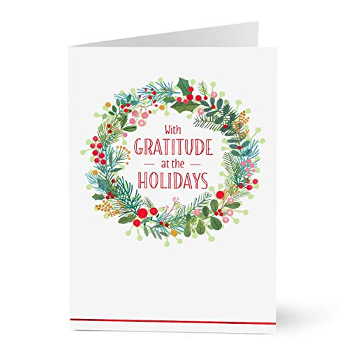 Happiness Business Holiday Card - Hallmark Business Holiday Cards for Employees (Holiday Happiness Wreath) (Pack of 25 Greeting Cards)
