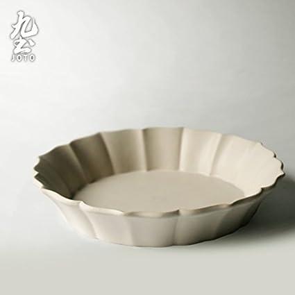 YUWANW Bandeja De Desayuno De Cerámica Japonesa Manual Decoración Antigüedades Plato De Fruta La Placa Plana