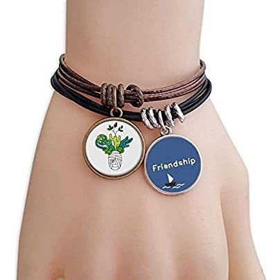 Horus Botany Mummy Plant Cactus Friendship Bracelet Leather Rope Wristband Couple Set Estimated Price -