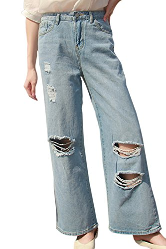Fanvans De las Mujeres Casual Jeans Rasgado Boot Cut Tramo Denim Pantalones Azul