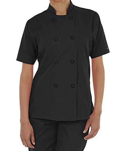 - Women's Lightweight Short Sleeve Chef Coat (XS-3X, 3 Colors) (Medium, Black)