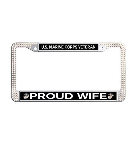 Bling Colorful Rhinestone US Marine Corps Veteran Proud Wife License Plate Frame, Retro Waterproof Metal Crystal License Plate Frame Holder
