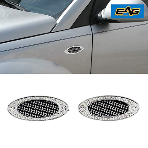 EAG E-Autogrilles Universal Car SUV Truck Chrome Oval Style Air Fender Side Vents W/Diamonds Decoration (61-0210)