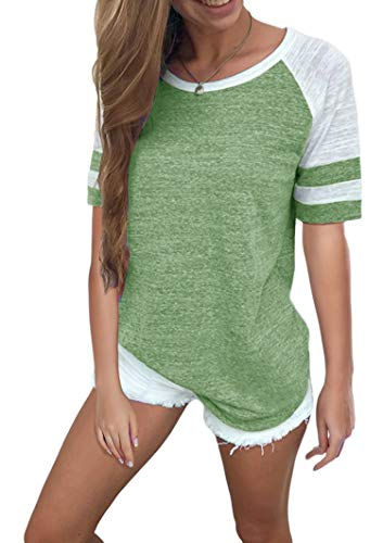 Yidarton Women's Color Block Short Sleeve T Shirt Casual Round Neck Tunic Tops(Olive Green,M)
